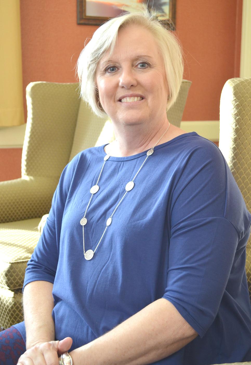 """MARY BETH KIGER will share her story of being a breast cancer survivor during """"Love Lights A Tree"""" at Versailles Presbyterian Church in downtown Versailles on Monday, Dec. 5, at 7 p.m. The ceremony includes a candlelight service in memory of lives lost to cancer and in celebration of cancer survivors. (Photo by Bob Vlach)"""