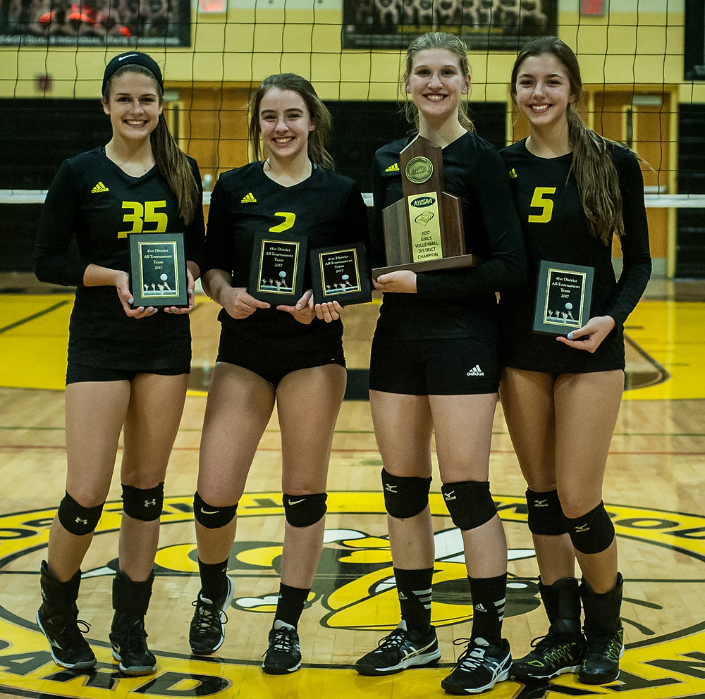 DISTRICT 41 ALL-TOURNAMENT TEAM selections for Woodford County were Claire Lehmkuhler, Evelyn Milburn (MVP), Lauren Smiley and Piper McCoun.  (Photo by Bill Caine)