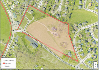 THIS MAP shows the location of the 7.48 acres the city council may decide to annex. A first reading of an ordinance announcing the city's intent to annex the land, which would bring it into city limits, was held Monday night. (Graphic by Woodford GIS Coordinator Kenneth Johns)