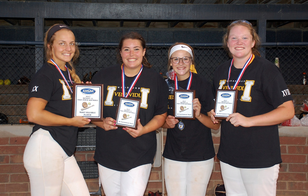 ALL REGION TEAM. Four members of the WCHS softball team were named to the 11th Region All-Tournament team following its 1-0 win over Scott County in the championship game on Wednesday, May 31, at Lakeside Park in Frankfort. They were, from left, Bethany Todd, Caitlin Karo, Kasey Abel and Delaney Enlow. (Photo by Rick Capone)