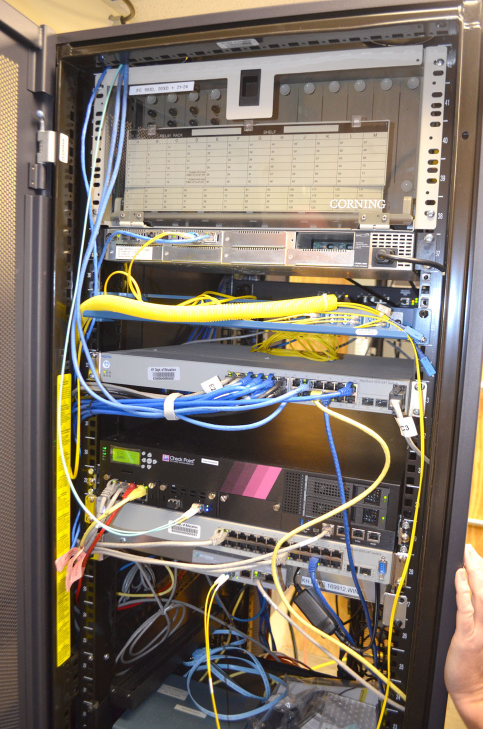 INTERNET SERVICE to Woodford County Public Schools comes to its central office and then gets distributed to the school buildings via a fiber optic network. The state provides every public school district with Internet access at no charge, but it's up to each district to connect its buildings. (Photo by Bob Vlach)