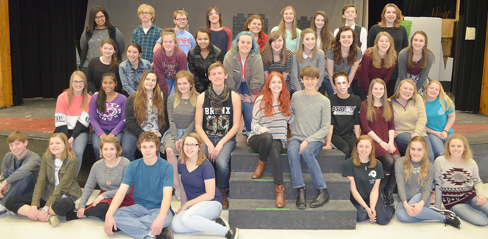 THE MUSICAL'S CAST gathered after a recent rehearsal. Performances are Friday and Saturday, March 11 and 12, at 7 p.m.; Sunday, March 13, at 2 p.m.; Friday and Saturday, March 18 and 19, at 7 p.m.; and Sunday, March 20, at 2 p.m. Tickets are $12 for adults and $8 for students. (Photo by Bob Vlach)