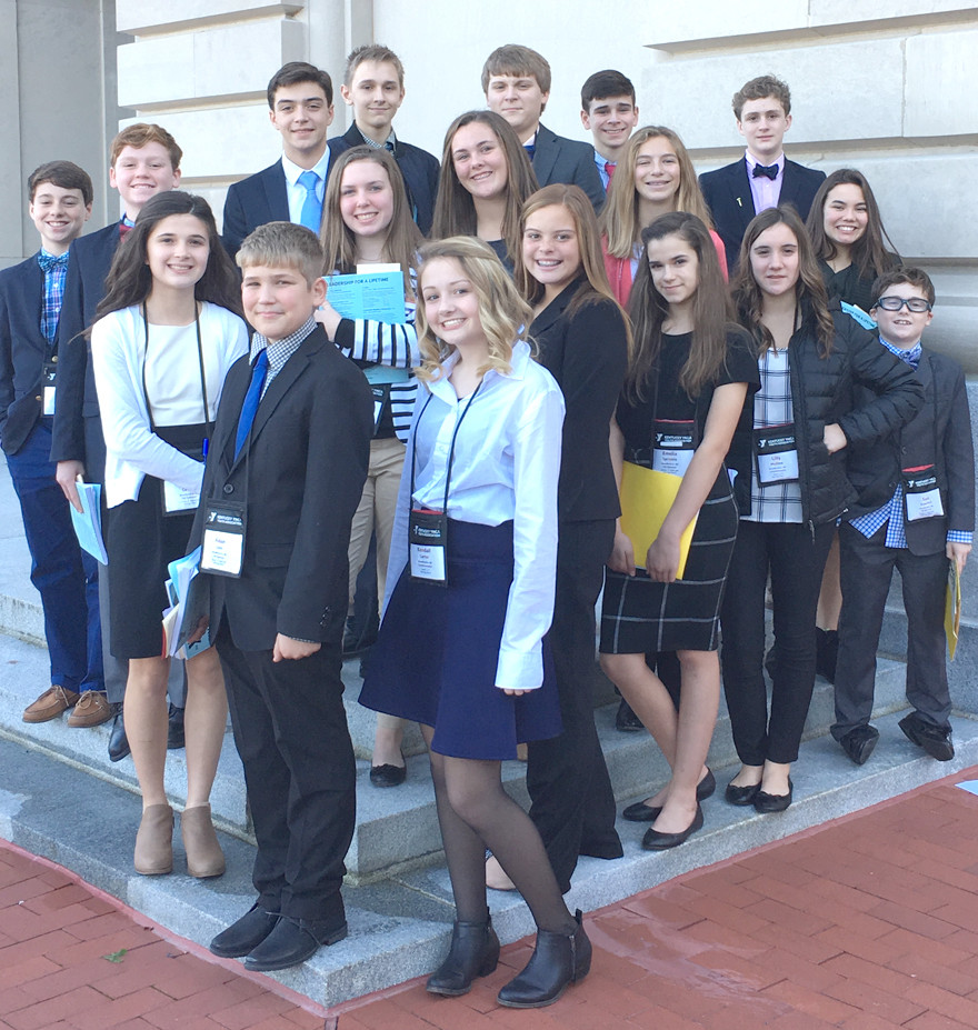 REPRESENTING WCMS at the recent Kentucky Youth Assembly (KYA) conference were, from left, front, Aidan Lynn, Kendall Carter, Elizabeth Edwards, Emelia Sprinkle, Lilly Mullins and Sam Dowdell; middle, Tori Cavins, Emma Moffett, Caroline Marshall, Mackenzie Karo and Kayla Hadley; back, Nate Wells, Will Dowdell, Cai Coburn, Ian Carr, Jordan Patterson, Aydin Khosrowshahi and Garrett Cheek.   (Photo submitted)