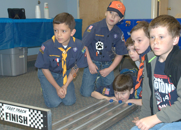 INDOOR ACTIVITIES, like this one involving Cub Scouts, from left, Jacob Turner, Ben Schwartz, Evan Shewmaker, Carson Kelly and Jasper Browning, were halted in March because of COVID-19. Pack No. 32 will host a question and answer event about scouting Thursday, Sept. 10, from 6:30 to 8 p.m., at the large outdoor pavilion near the youth ball field complex at Falling Springs. (Photo submitted)