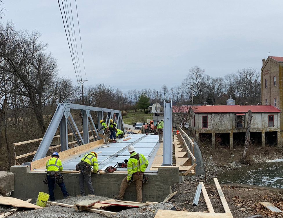 MUCH OF THE WORK on the Weisenberger Mill Bridge could be finished by the end of the year, according to an official with the state Transportation Cabinet. Work on the bridge approaches, sidewalks and signs remains, according to Natasha Lacy, who said the scheduled completion date is July 25, 2020. (Photo by Vanessa Seitz)