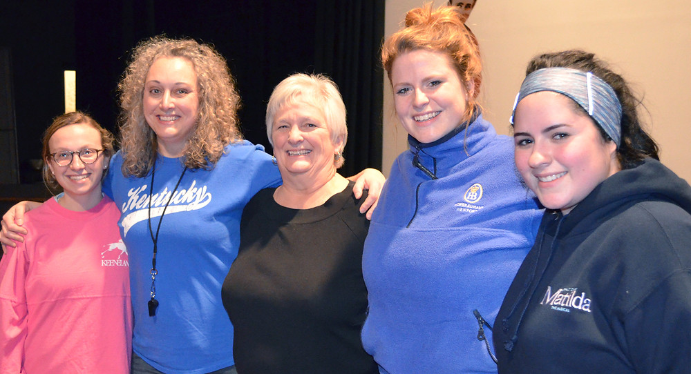 """DURING A BREAK at a recent rehearsal of """"Nunsense,"""" Kelli Jo Crawford (Sister Mary Leo), Melissa Rae Wilkeson (Sister Robert Anne), Patricia O'Neill (Reverend Mother Regina), Jessica Pearl French (Sister Mary Hubert) and Maddy Williamson (Sister Mary Amnesia), pictured left to right, posed for a photograph. (Photo by Bob Vlach)"""
