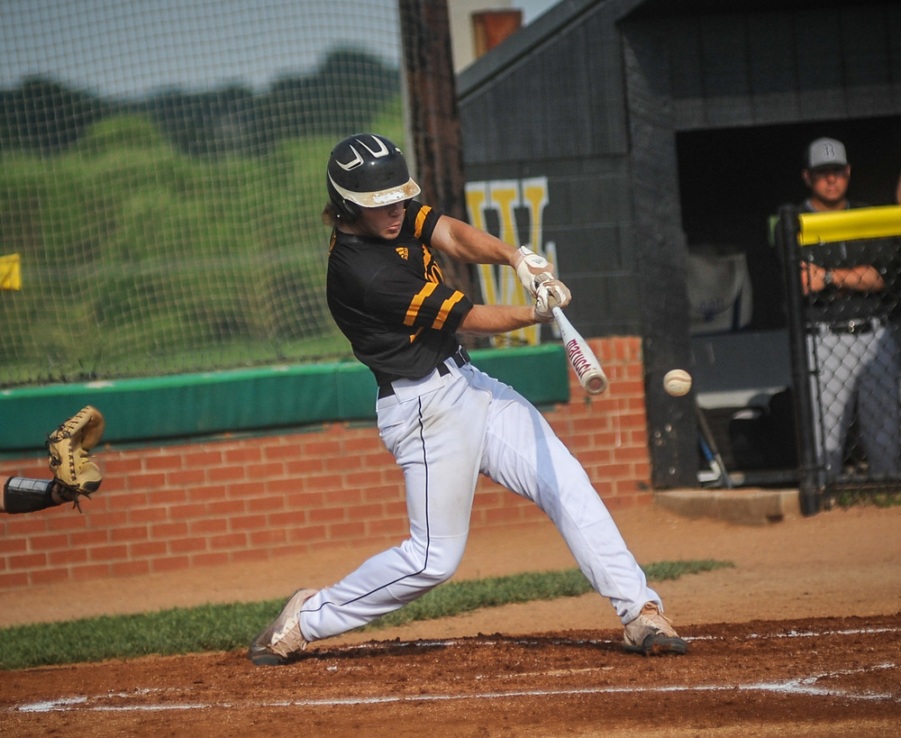 WCHS JUNIOR BEN BROWNING had a pair of RBI in the Bat Jackets' win over Boyle County Monday, May 14 at Chandler Field. (Photo by Bill Caine)