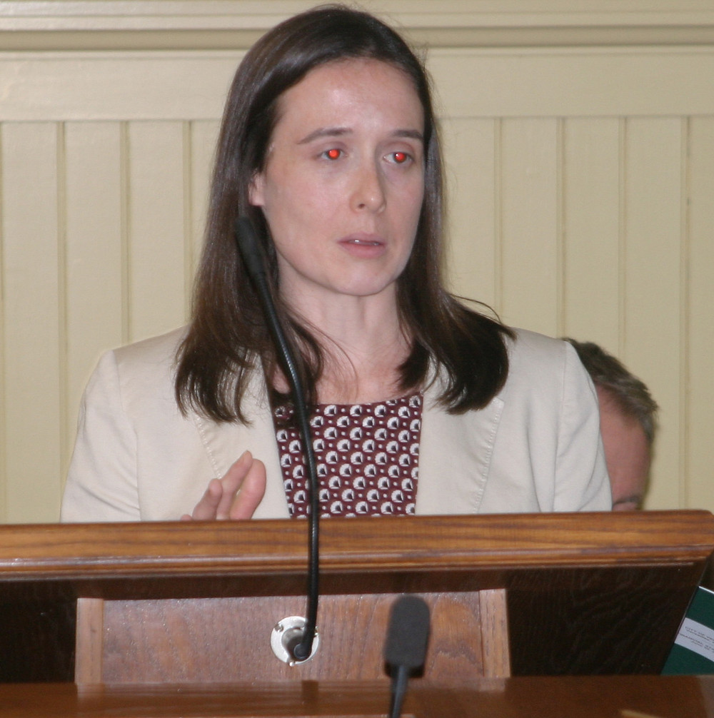 "HEATHER COCHRAN of the Lexington accounting firm RFH presented the results of an audit of the city's finances for fiscal year 2015, which ended June 30. ""Overall, I think you all had a pretty good year ..."" Cochran told the council. (Photo by John McGary)"