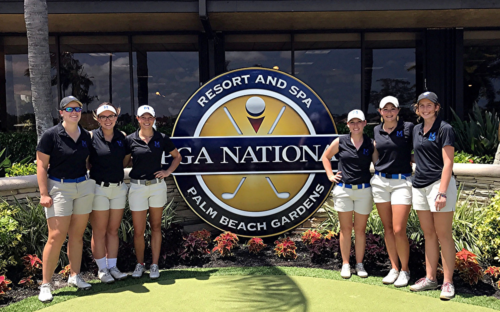 THE MIDWAY UNIVERSITY women's golf team posed for a photo at PGA National in Palm Beach Gardens, Fla., where the Eagles were participating in the the NAIA Women's Golf National Championship. Team members shown in the photo are, from left, Kelsey Whitehouse, Rylee Beard, Chelsea Schack, Amanda Cox, Kathryn Lawler and Hannah Scroggins. (Photo courtesy of Midway Athletics)