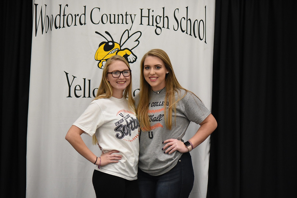 LEEA COLE AND EMILY HESTAND signed their letters of intent to play softball at Union College Wednesday, Dec. 12. (Photo by Bill Caine)