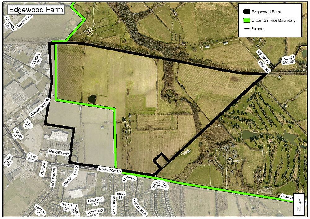 A PUBLIC HEARING on a request to rezone approximately 405 acres on Lexington Road (known as the Edgewood Farm property) has been scheduled for Thursday, March 3, at 6:30 p.m. in the third-floor courtroom of the Woodford County Courthouse. Property developer CRM Companies wants to rezone the land at 1450 Lexington Road in order to bring new retail businesses, light industrial uses as well as high- and low-density housing to the site, located east of the Kroger Marketplace and west of Paynes Mill Road. CRM Companies has also asked for an amendment to the Comprehensive Plan to expand the urban service boundary to include a portion of the property outside the boundary. (Graphic provided by the Planning Commission)