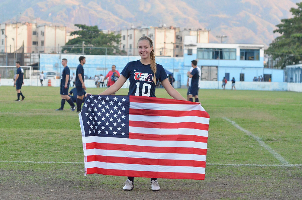 JESSIE TURNER, a former student-athlete on the Woodford County High School girls' soccer team, and a sophomore at Centre College in Danville this fall, was been selected to play on the USA D3 Soccer Team. Coached by Jim Conlon of Washington University, the team played in Brazil during a tour the first week of June. (Photo by Taylor Cohen)