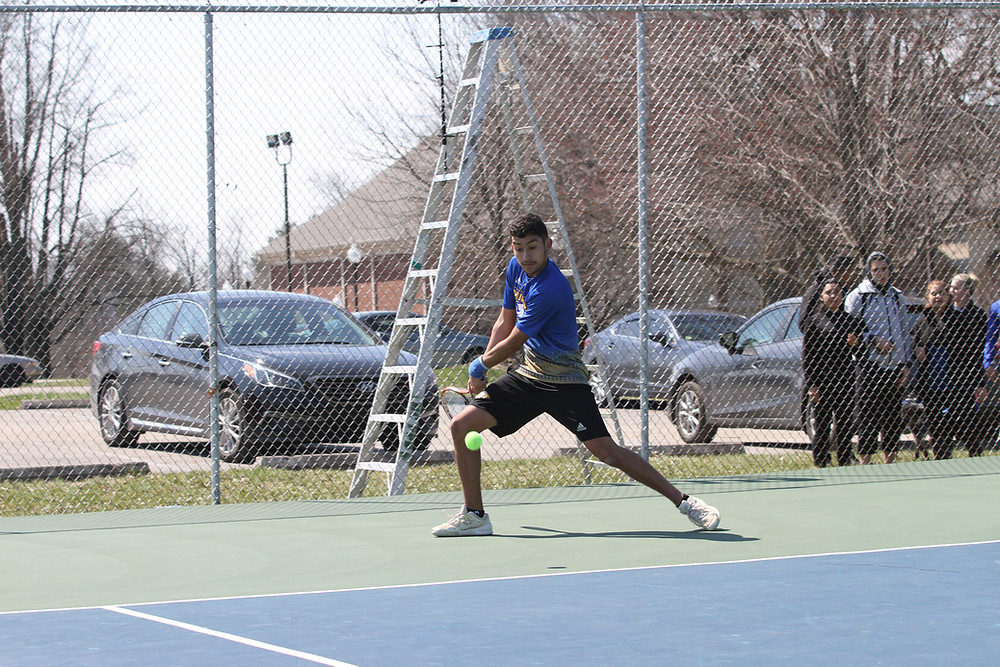 JULIAN LOPEZ, a freshman from Bogota, Colombia, first teamed with Hugo Retortillo and won at No. 1 doubles. He also won in straight sets at No. 1 singles in Midway's 5-0 win over Ohio Christian University. (Midway Athletics photo)