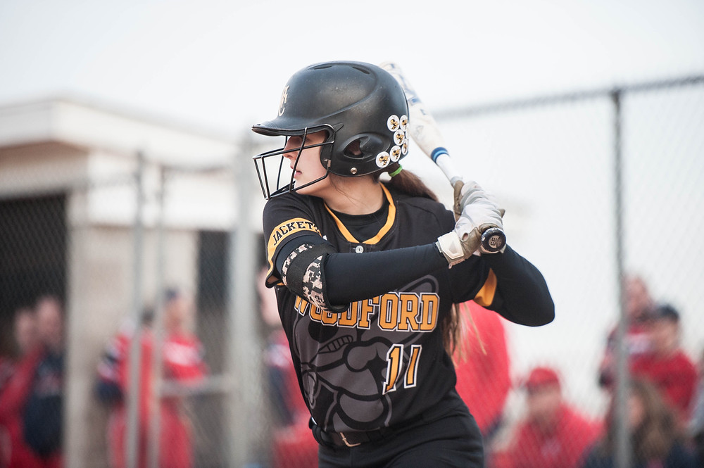 CLAIRE LEHMKUHLER waits for her pitch while in the batter's box against Anderson County earlier this season. The WCHS Lady Jacket softball team traveled to Myrtle Beach over spring break to participate in the Cal Ripken Experience. The squad went 3-0. (Photo by Michael Muncy)