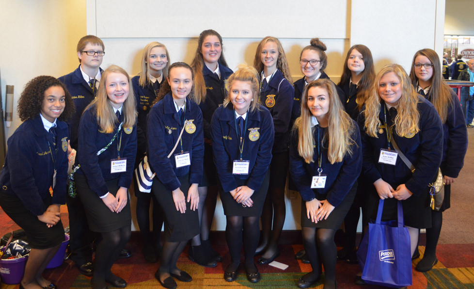THIRTEEN Woodford County FFA members attended the National FFA Convention and Expo Oct. 18 in Indianapolis, Ind. Front row, from left, are Acacia Johnson, Jensen McMurry, Caryl Lyn Akers, Kennedy Eden, Gracie Metzger, and Kyler Shifflet; back row, Quinton Hilton, Emma Cress, Hannah Smith, Savannah Richardson, Laryn Hamilton, Destiny Morris, and Christina Dean. (Photo submitted)