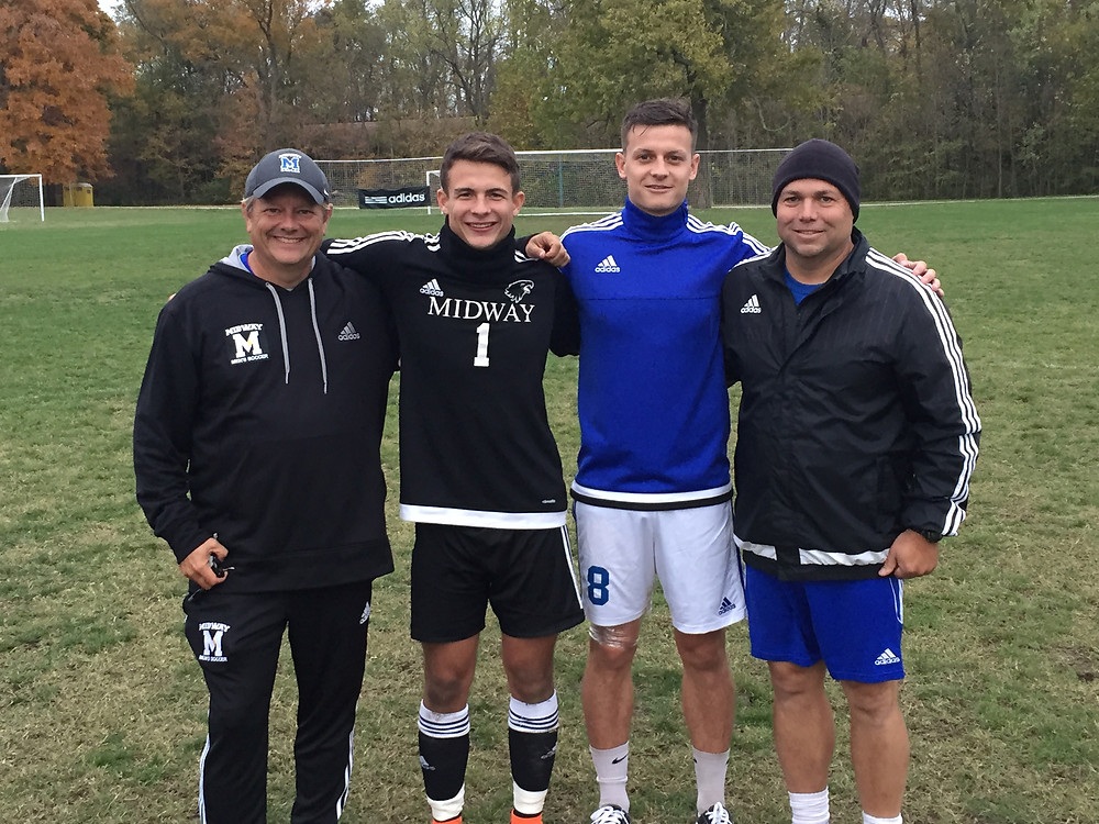 SENIORS HONORED. The Midway University men's soccer team celebrated its two seasons by picking up a 3-1 victory over Ohio Christian on Senior Day. The seniors and coaches are from left, Tim Wolz (head coach), Colby Bicksler, Joe Jessop and Paul Patton (assistant coach). (Photo by of Midway Univ. Athletics)