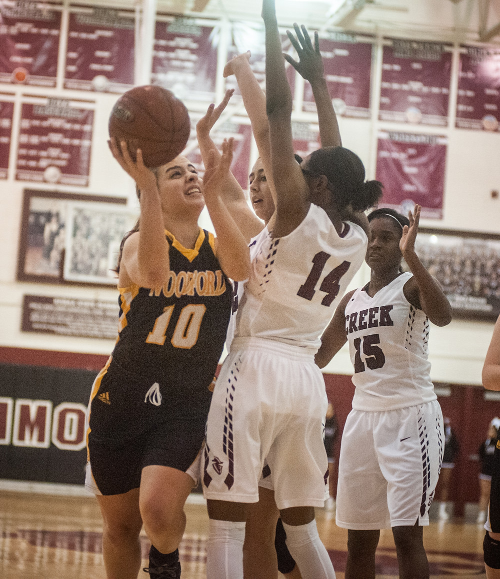SENIOR POINT GUARD PEYTON ROSE drives to the basket in the Lady Jackets' 46-34 win at Tates Creek on Jan. 3. (Photo by Bill Caine)