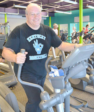 PAUL WRIGHT has begun his third year of regular exercise at the Falling Springs Arts and Recreation Center in Versailles. (Photo by Bob Vlach)