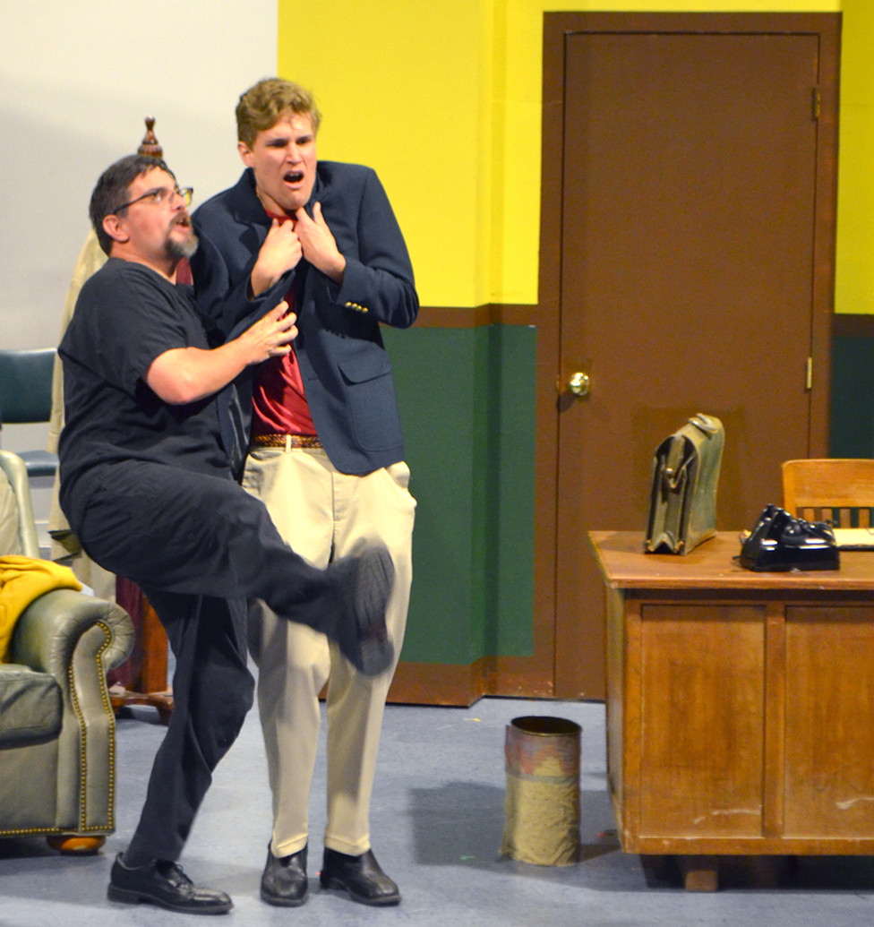 """MAX AND LEO as portrayed by Johnathan Watson, left, and Forrest Loeffler rehearse a scene from """"The Producers,"""" which opens at Woodford Theatre Friday night, Oct. 5. The Mel Brooks musical comedy is rated PG-13 for language and adult content. (Photo by Bob Vlach)"""