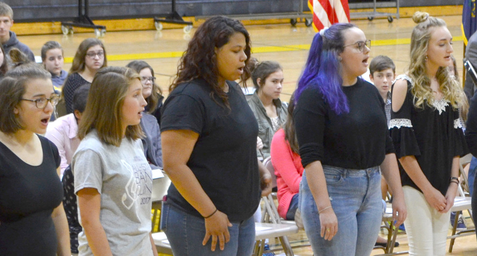 THE HONEYBEES, an all-girls a-cappella group, and other singing groups from Woodford County High School will perform at the Singletary Center for the Arts in Lexington on Tuesday, Dec. 5, at 7 p.m. From left are Eliza Bradshaw, Hunter Story, Chantel Williams, Eliza Platt and Kaedynce Dewar. (Photo by Bob Vlach)