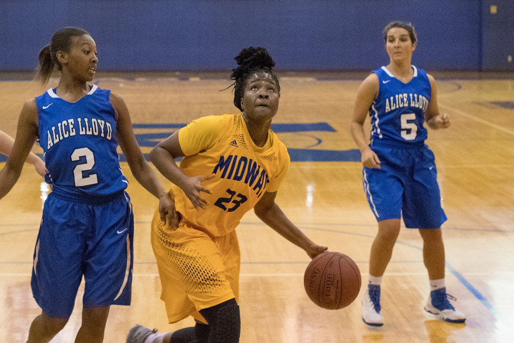 PATRICE TONGE - A senior forward from Lebanon, Ky.,  collected her first double-double of the season with 15 points and 10 rebounds in Midway's 69-62 overtime victory over University of Michigan-Dearborn. (Photo courtesy of Midway athletics)