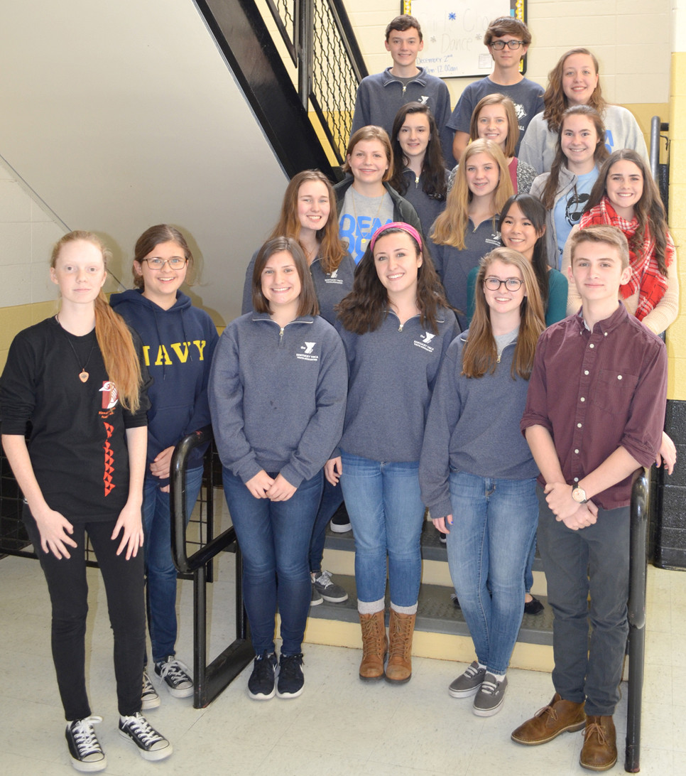 A DELEGATION OF EXCELLENCE represented Woodford County High School at the 2017 Kentucky Youth Assembly. From left are front, Ginny Gregory, Ellie Clay, Caroline Miller, Allison Miller, Abigail Mortell and Tony Brock; second row, Maggie Carney, Kate Moran, Erin Lawson, Rachel Vascassenno and Emily Melcher; third row, Olivia Raybourne, Kristin Taylor and Sophie Edelen; and back row, Parker Raybourne, Carter Smith and Ginny Hallman. Not pictured, but also KYA participants, are Eric Allison, Tessa Brengelman, Abigail Cheek, Caleigh Evans, Regan Martin, Saige Miracle, Sarah Potts, Adie Preston, Sara Beth Shrader, Christine Slover and Mikayla Spencer. (Photo by Bob Vlach)