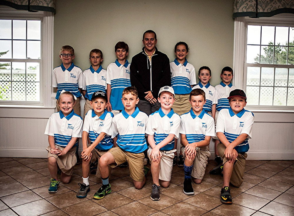 LEAGUE CHAMPS. The Moss Hill PGA Junior League Team recently captured the PGA Junior League Team championship. The league, which ran from mid-May to the end of July, saw the team lose only one match to win the title. Team members shown are, front row, from left, Caroline Gribble, Jay Wells, Drew Heckathorn, Bradford Lacefield, Nolan Asher, and Landon Heim; back row, Sawyer Gribble, Luke Thompson, Justin Hunter, Joseph Barr (coach), Mary Peyton Thompson, Abigail Caine, and Logan Stout. (Photo submitted)