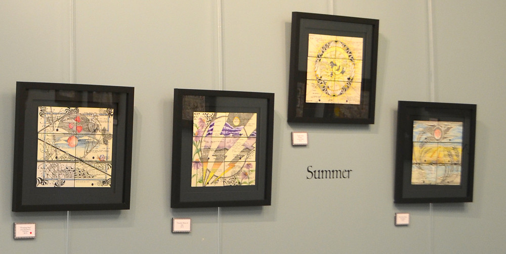 """THE LIBRARY CATALOGUE CARDS used as her canvas """"informs what I draw,"""" said Versailles pen and ink artist Jen Dunham. Her art show at the Woodford County Library, """"To the Moon…"""" continues through July 26. (Photo by Bob Vlach)"""