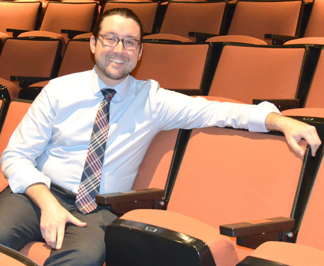 ALEX MADDOX, with a background in both business and the arts, has been hired as interim executive director of the Woodford Theatre. He has been its business director since September 2019, and said he's looking forward to inviting the community back into Woodford Theatre. (Photo by Bob Vlach)