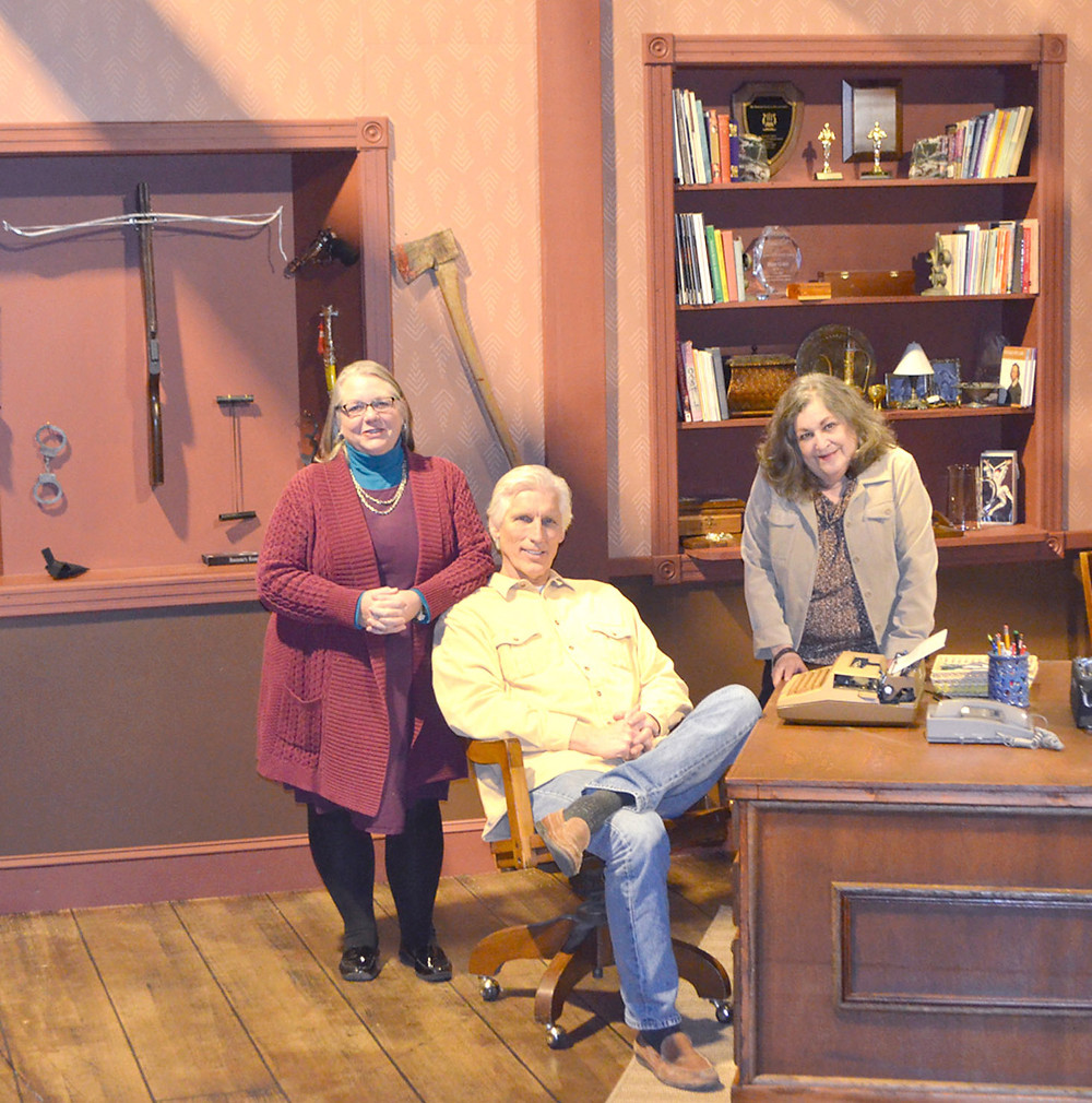 """PATTI HEYING, who lives here, directs three local favorites, including Eric Johnson and Gina Scott-Lynaugh, pictured at right, in """"Deathtrap,"""" which opens at the Woodford Theatre this Friday night at 8. Sherry Thompson, the third local actor, could not come to Monday night's rehearsal because she was stuck in a snowstorm in Chicago. (Photo by Bob Vlach)"""