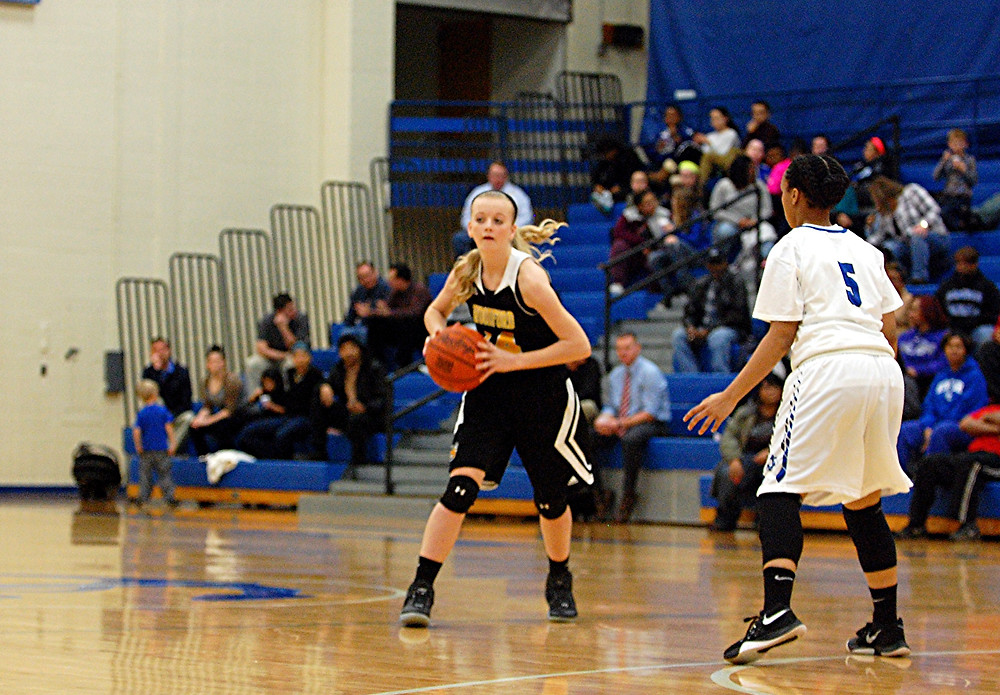 Abbie Hudson is shown looking to pass the ball to a teammate during Woodford's game against Danville on Friday. Jan. 8. (Photo by Rick Capone)