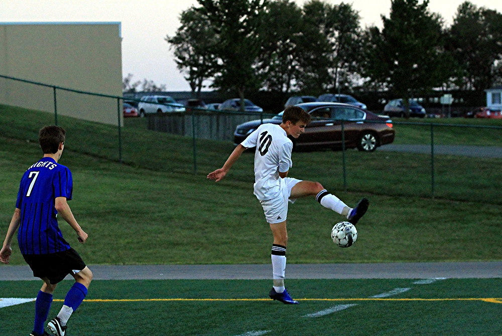 GLENN FISTER scored the Yellow Jackets only goal during the Woodford County High School boys' soccer team's home game against Lexington Catholic on Thursday, Sept. 22. The Knights won 3-1. (Photo by Steve Blake/multiexposures.com)