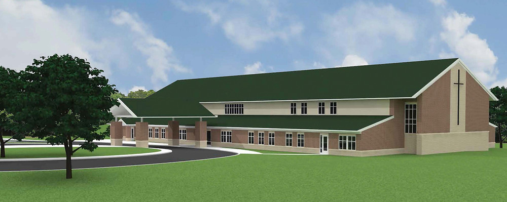 AN ARCHITECTURAL RENDERING provides an exterior depiction of Versailles United Methodist Church's Family Life Center. Brett Construction in Lexington will construct the Family Life Center, which should begin housing VUM church activities in early-2017. (Rendering courtesy of Johnson Early Architects)