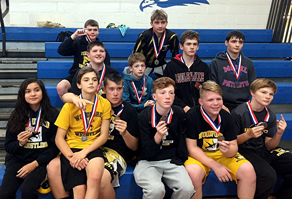 THE WOODFORD COUNTY MIDDLE SCHOOL wrestling team celebrated their second-place finish at the LaRue County KWOA Fall Classic on Sunday, Nov. 13. (Photo submitted)