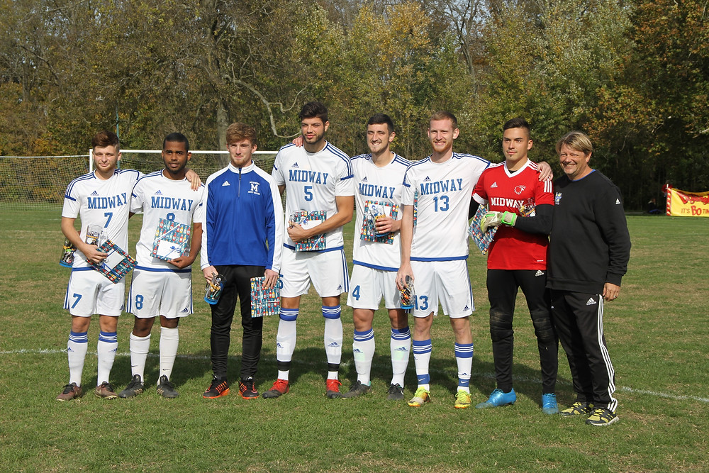 MIDWAY SOCCER SENIORS from left to right: Brad Wilson, Nelson deCastro, Max Bristow, Pol Marco, Harry Kirwan, Kyle Robertson, Christian Neira and coach Tim Wolz. (Photo Courtesy of Midway Athletics)