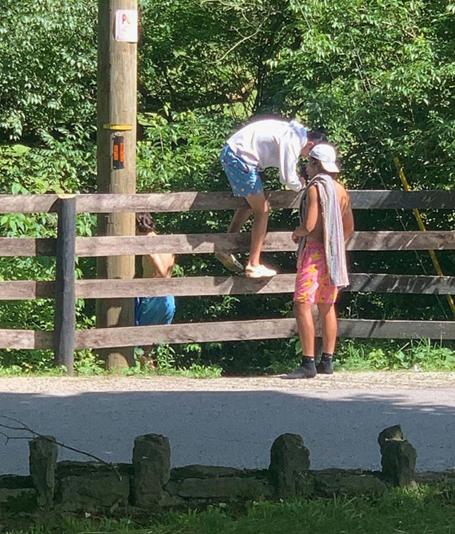 TRESPASSING ON PRIVATE PROPERTY to get to Weisenberger Mill Bridge is just one of the problems area residents cite, along with littering and illegal parking. Some people have installed fences, including those of the barbed wire variety, to discourage unwanted visitors. (Photo submitted)