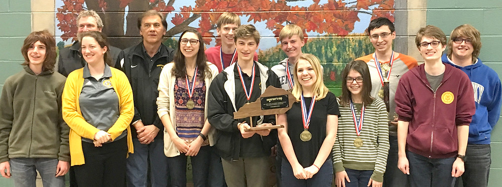 WCHS MADE HISTORY when its academic team won its first-ever 11th Region Governor's Cup Championship last Saturday, Feb. 20. Pictured, from left, are Wesley Forte, associate Coach Ken Tonks, associate Coach April York, head Coach Kyle Fannin, Jacqui Kowalke, Luke Allen, Branham Chandler, Seth Allen, Hannah Edelen, Sarah Potts, Ryan Mink, Logan Curtis and Travis Korby. Not pictured are Connor Akers, Caleb Chapman and Sarah Murner. (Photo submitted)