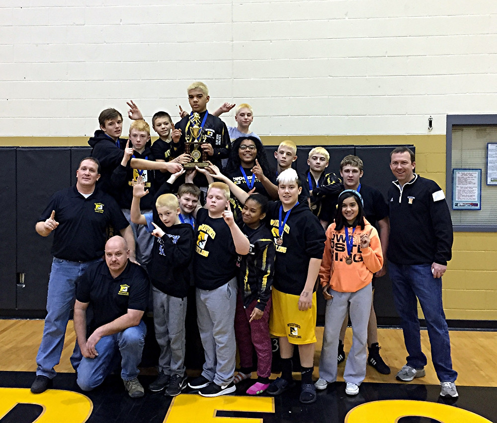 THE WOODFORD COUNTY MIDDLE SCHOOL wrestling team recently captured the District 4 wrestling championship, which was held at home on Saturday, Jan 16. Thirteen WCMS wrestlers posted top four finishes in their weight classes and advanced to the region tournament where they will face the District 8 champions. (Photo submitted)