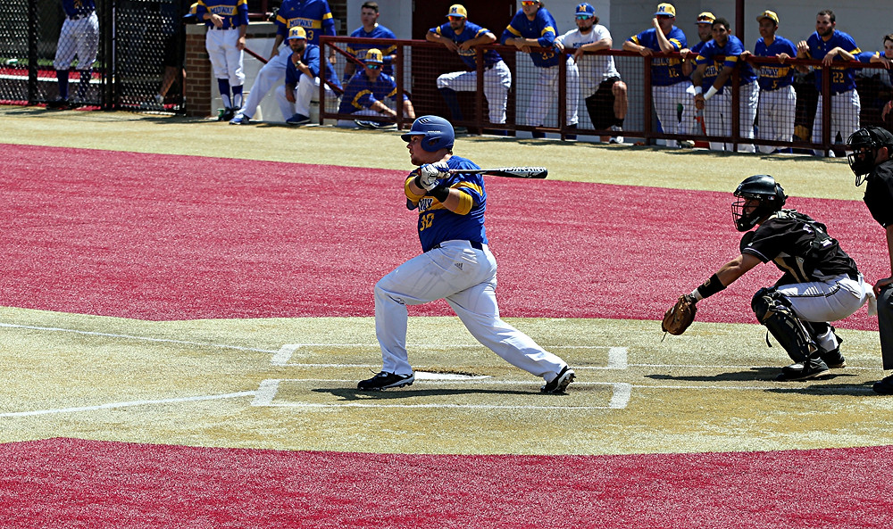 TYLER JONES, a junior on the Midway University baseball team, was the team's best hitter during the opening round of the NAIA baseball tournament on Monday, May 15, in Lima, Ohio. Jones went 4-for-8 for a .500 batting average with a run scored. (Photo by Midway Athletics)