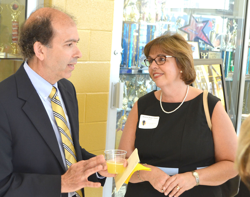 HALL OF FAME INDUCTEES Mark Gormley and Teresa Jones James spoke prior to the Woodford County Public Schools Hall of Fame induction ceremony on Saturday, Aug. 26. (Photo by Bob Vlach)