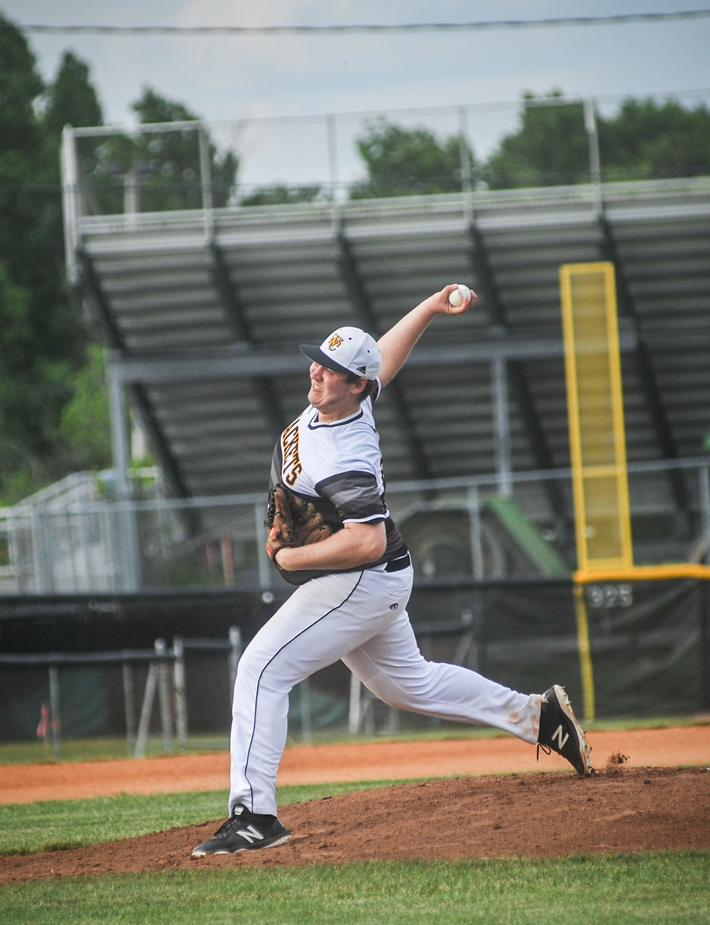 WCHS SENIOR COLLIN MURRAY pitched six scoreless innings and struck out 10 batters in the district tournament semifinal May 21. (Photo by Bill Caine)