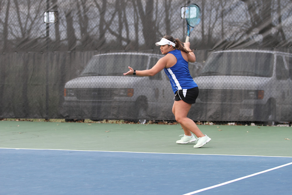GABBY MEIS, a senior from Panama City, Panama, won her doubles and singles matches in Midway's 8-1 home victory over Carlow University on Saturday, March 10. (Midway Athletics photo)