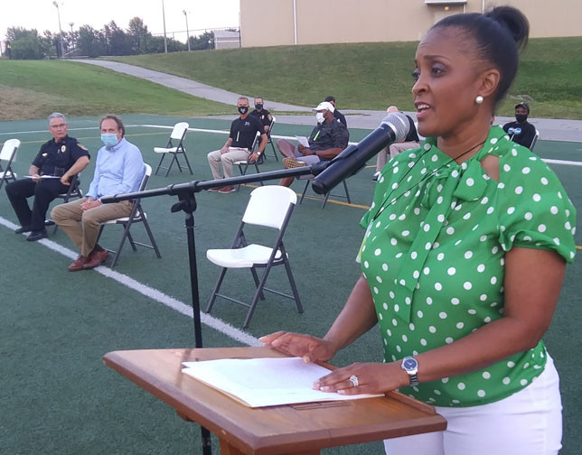 """CHANTEL BINGHAM was the keynote speaker at last Friday's """"Friday Night Under the Lights"""" rally at Community Stadium, where she and nearly 20 other speakers discussed COVID-19, racism and the power of prayer. (Photo by John McGary)"""