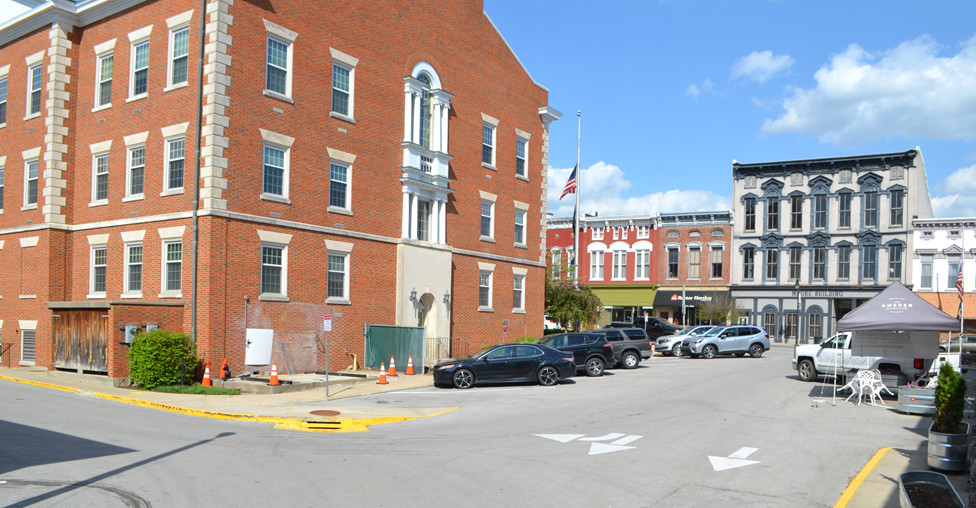 COURT STREET in downtown Versailles will provide an outdoor venue for the upcoming Woodford County High School senior prom. Tents will be set up in front of the Amsden building businesses and a DJ will play music in front of the Woodford County Courthouse Annex. (Photo by Bob Vlach)