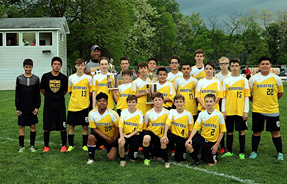 THE WOODFORD COUNTY MIDDLE SCHOOL boys' soccer team recently completed its season as the Bluegrass Conference regular season champions for the second season in a row. In addition, they were runners-up in the Bluegrass Conference Tournament for the second year in a row as well. WCMS team members are, front row, from left, Lioner Garcia, Jack Shea, Kyle Miller, Caleb Evans, and Dylan Taylor; middle row, Alex Valdivia, Pablo Marroquin, Ryan Alvey, Zack Ball, Colton Johson, Guy Mogge, Gael Gonzalez, Hector Jimenez, Braden Reister, Cai Coburn, and Alvaro Ochoa; back row, Mike Hayes (head coach), Mason Coburn, Jonathan Garcia, Johnny Vieyra, Cameron Collier, and Connor Gilliland. Not pictured is Micah Evans. (Photo submitted)