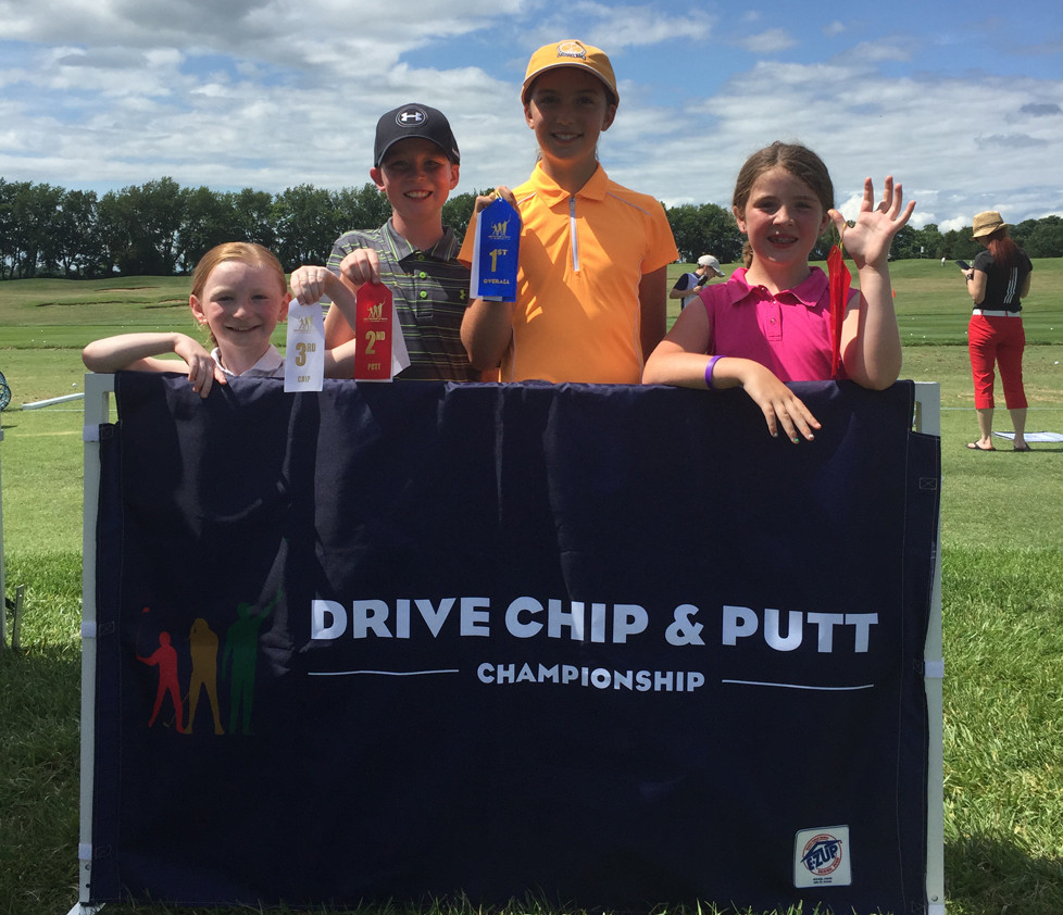 FROM LEFT, Moss Hill Junior League members Harper Lacefield, Bradford Lacefield, Cailyn Rogers and Abigail Caine participated in the Drive, Chip, and Putt Friday, June 30. (Photo by Bill Caine Photography, www.billcaine.com)