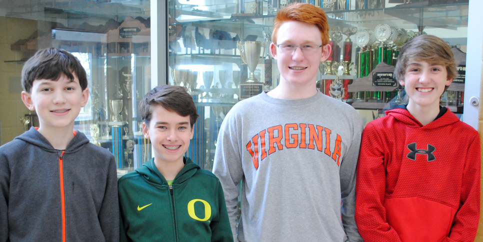 A FUTURE PROBLEM SOLVING TEAM will represent Woodford County Middle School at the state Governor's Cup finals. From left are Bryant Craig, Robert Sunseri, Cayce Jones and Aidan Bottom. (Photo submitted)