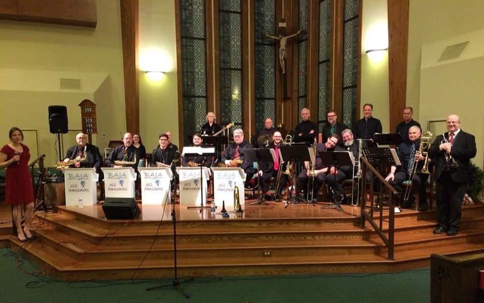 THE BLUEGRASS AREA JAZZ MUSICIANS, shown here in 2018 at St. Leo Catholic Church, will return Sunday, Dec. 15, at 3 p.m. for their third annual free Christmas concert there. (Photo submitted)