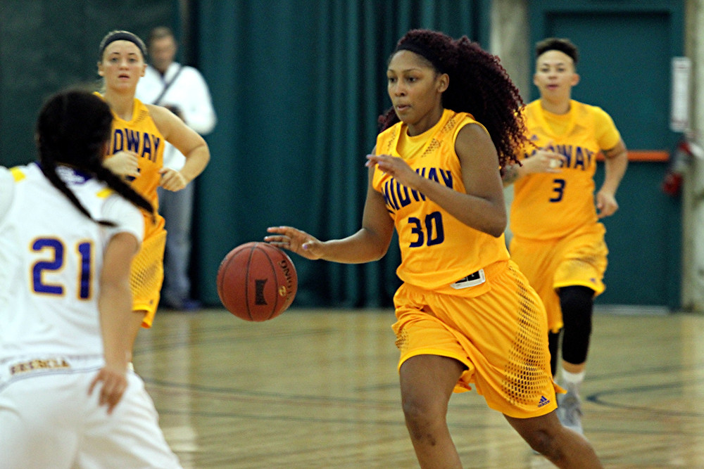 TIMITRYI PATTERSON, a freshman forward on the Midway University's women's basketball team, paced the Eagles with 16 points in Midway's 75-67 loss to West Virginia Tech at home in Marshall Gymnasium on Saturday, Jan. 21. (Photo courtesy of Midway Univ. Athletics)