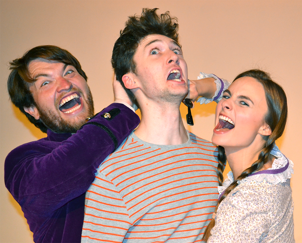 "'PETER AND THE STARCATCHER' at the Woodford Theatre features, from left, Nick Vannoy (Stache), Jordan Strouse (boy/Peter) and Kesley Waltermire (Molly Aster). Based on a novel by Dave Barry and Ridley Pearson, this prequel to ""Peter Pan"" tells the story of how Peter became the boy who wouldn't grow up. (Woodford Theatre photo)"